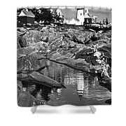 Pemaquid Point Lighthouse Maine Black And White Shower Curtain