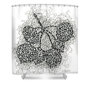 Pen And Ink Drawing Of Aspen Leaves Shower Curtain