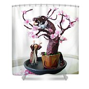 Pen-jing Dragon Plum Tree Shower Curtain