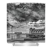 Penarth Pier Morning Light 1 Mono Shower Curtain