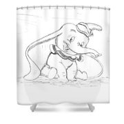 Pencil Drawing Of Walt Disney's Dumbo Shower Curtain