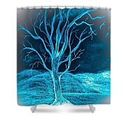 Pencil Sketch Of A Tree And Hills In Abstract Shower Curtain