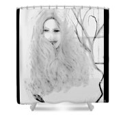 Pencil Sketch Of Blonde Hair Girl Shower Curtain
