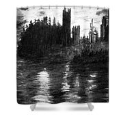 Pencil Sketch The Dolceaoque Castle Shower Curtain