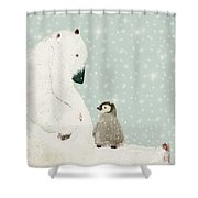 Penguin And Bear Shower Curtain