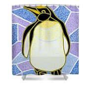 Penguin On Stained Glass Shower Curtain