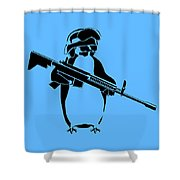 Penguin Soldier Shower Curtain by Pixel Chimp