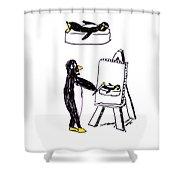 Penguins Don't Paint Pictures Shower Curtain