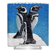 Penguins In The Snow Shower Curtain