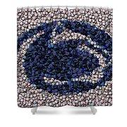 Penn State Bottle Cap Mosaic Shower Curtain by Paul Van Scott