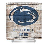 Penn State // Football // Distressed Wood Shower Curtain