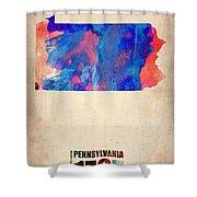 Pennsylvania Watercolor Map Shower Curtain by Naxart Studio