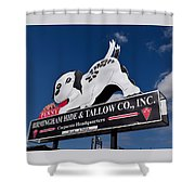 Penny Dog Food Sign 2 Shower Curtain