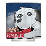 Penny Dog Food Sign 3 Shower Curtain