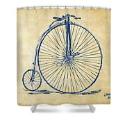 Penny-farthing 1867 High Wheeler Bicycle Vintage Shower Curtain by Nikki Marie Smith