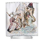 Pension Cartoon, 1893 Shower Curtain
