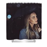 Pensive Woman Outdoors In Rainy Night Shower Curtain