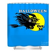 Pentacle Halloween Witch Shower Curtain