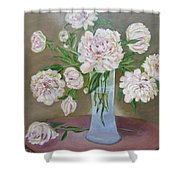 Peonies Bouquet In An Elegant Bowl On A Round Table Shower Curtain