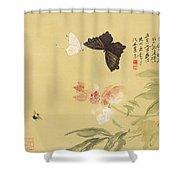 Peonies And Butterflies Shower Curtain