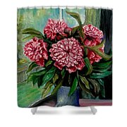 Peonies Flowers Original Painting Shower Curtain