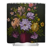 Peonies In A Red Vase Shower Curtain