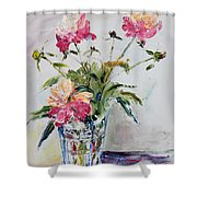 Peonies In Crystal Vase Shower Curtain