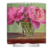 Peonies In Tumbler Shower Curtain