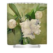 Peonies On Green Shower Curtain