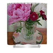 Peonies With Sweet Williams Shower Curtain