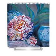 Peony And Chinese Vase Shower Curtain