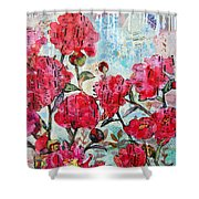 Peony Art Mixed Media Collage Art Floral Print Fine Art Print Peony Polka Shower Curtain