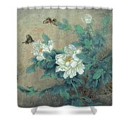 Peony Butterfly Shower Curtain