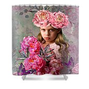 Peony Flower Child Shower Curtain