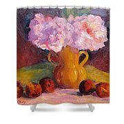 Peonys And Peaches Shower Curtain