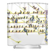People And Birds. 18 March, 2016 Shower Curtain