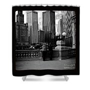 People And Skyscrapers - Square Shower Curtain