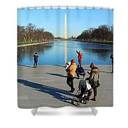 People At The Reflecting Pool Shower Curtain