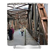 People Crossing Old Yugoslav Weathered Metal Bridge Crossing In Bosnia Hercegovina Shower Curtain
