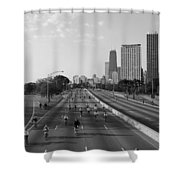 People Cycling On A Road, Bike The Shower Curtain
