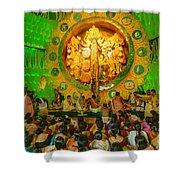 People Enjoying Inside Durga Puja Pandal Durga Puja Festival Shower Curtain