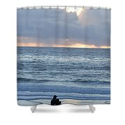 People Gather At Carmel Beach Shower Curtain