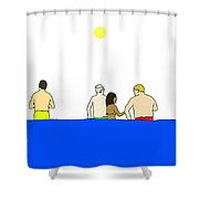 People In Pool Shower Curtain
