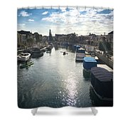 People Kayaking Through Naples Canals In Long Beach, Ca Shower Curtain