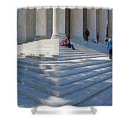People On Steps With Columns Shower Curtain