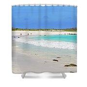 People On The Beach In Espanola Island. Shower Curtain