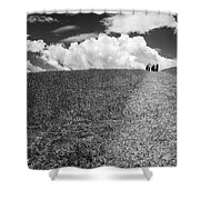 People On The Hill Bw Shower Curtain