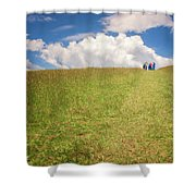 People On The Hill Painterly Shower Curtain