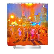 People Outside On Street Shower Curtain