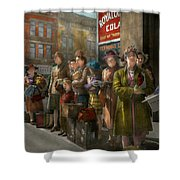 People - People Waiting For The Bus - 1943 Shower Curtain